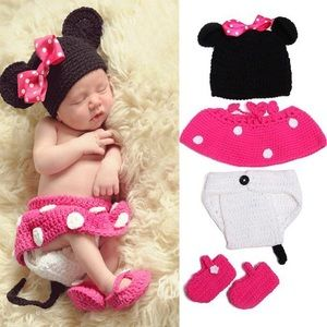 Newborn Baby Knit Minnie Mouse Outfit Photo Prop